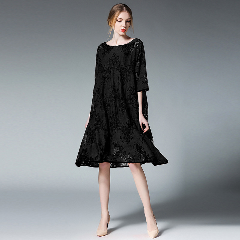 цена Maternity Lace Dresses Hollow Pregnancy Women Casual Loose Dress 2Sets O Neck Short Sleeve Embroidery Pregnant Clothes