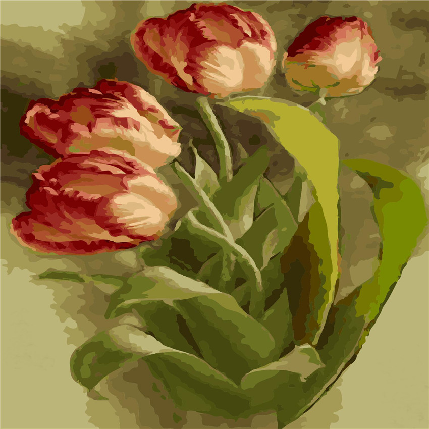 Tulip Flowers Oil Painting By Numbers DIY Abstract Digital Picture Coloring By Numbers On Canvas Unique Gift Home Decor 2017 in Painting Calligraphy from Home Garden