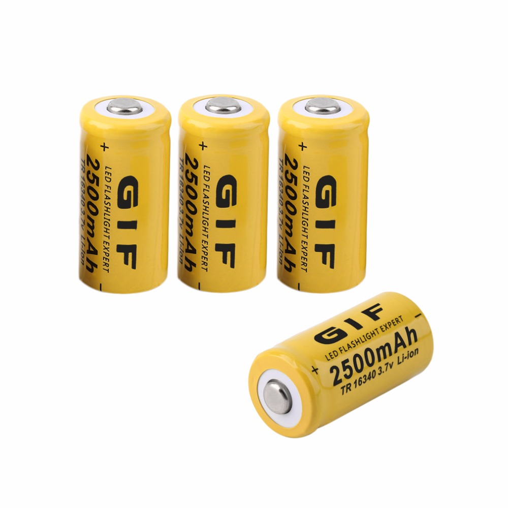 4 pcs AA 3.7V 16340 2500mAh Low Reoccurring Operation Cist Rechargeable Li-ion LED Battery Safe For Flashlight