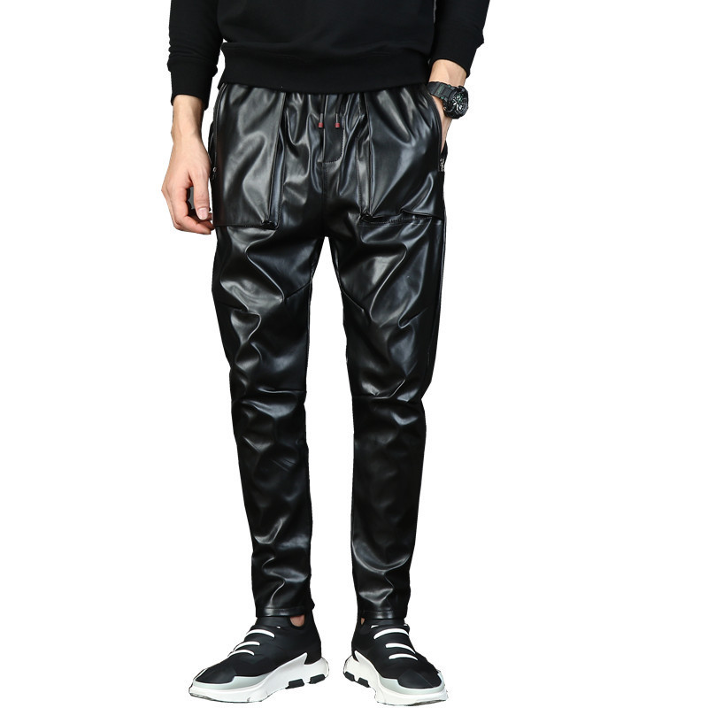Abetteric Men Fashion Color Splice Middle Rise Sweatpants with Strings