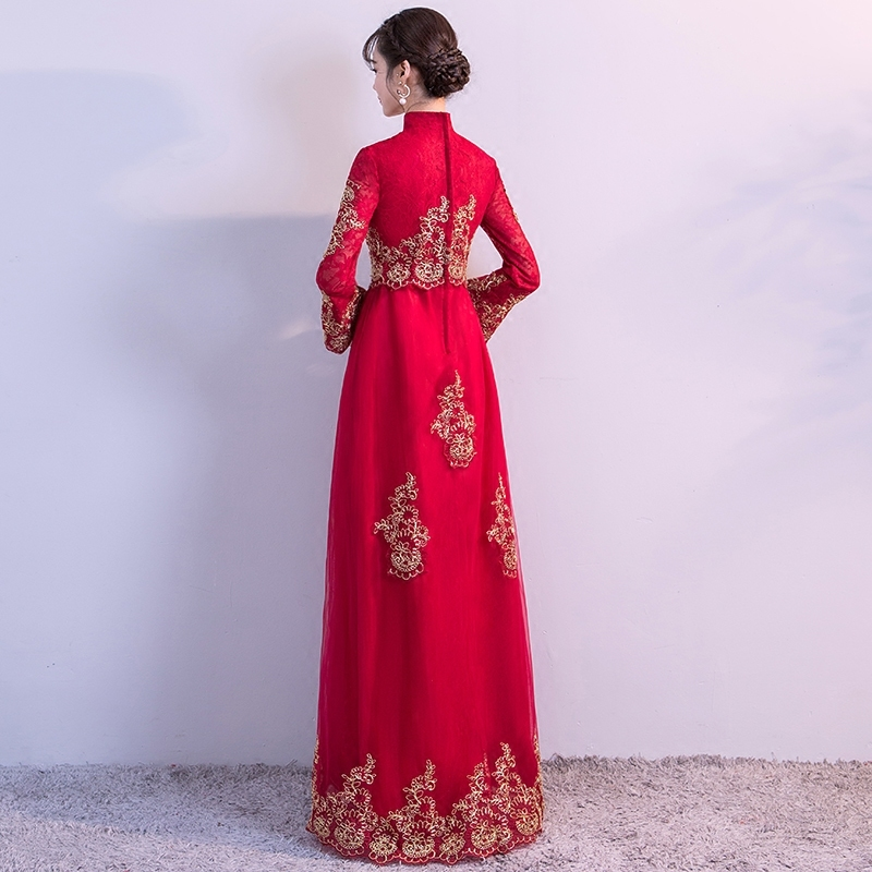 90b6e6b538c Red Pregnant Bride Waist Wedding Gowns Traditional Chinese Clothes For  Women Dress Modern Cheongsam Qipao Oriental Style Dresses-in Cheongsams  from Novelty ...