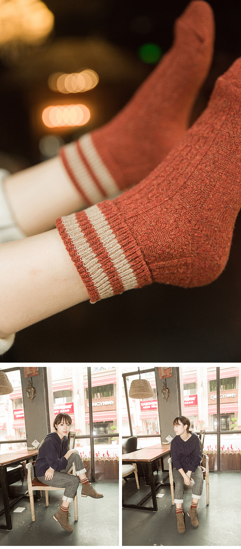HTB1Yq6PaozrK1RjSspmq6AOdFXal - 5 Colors New Fashion Retro Wool Women Socks Autumn Winter Wamer Cotton Girl Socks Female Japanese Tube Sock Students Hosiery