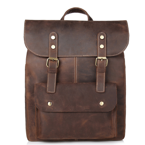 New British Style Wearproof Male Backpack Classic Genuine Leather Shoulder Bag Vintage Laptop Bag Casual Business Schoolbag C199 male classic microfiber leather backpack