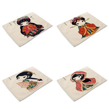 Chinese style Cute Girl Life 4 Pieces Set Kitchen Table Mats Cotton Linen Table Napkin Cute Pattern Decorative Placemats(China)