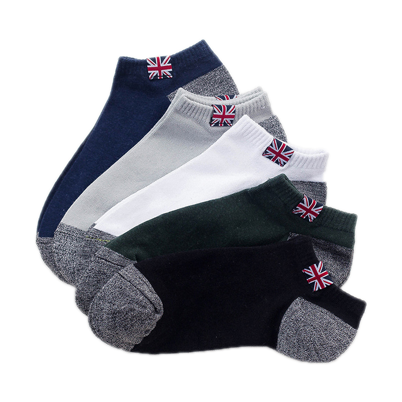 5 Pairs/ lot Mens Socks Funny Cotton Splice National Flag Ankle Socks Casual Coolmax Breathable Short Socks Male Dress Fashion