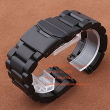Alta calidad correa de Metal Fit peso pesado , reloj del deporte 22 mm 24 mm 26 mm correa de repuesto de las pulseras de seguridad negro implementación de cierre