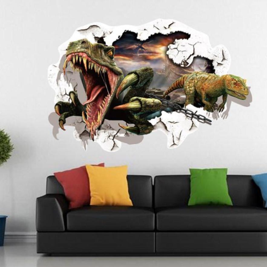 d de dibujos animados dinosaurio pegatinas de pared arte decal mural home room decor etiqueta