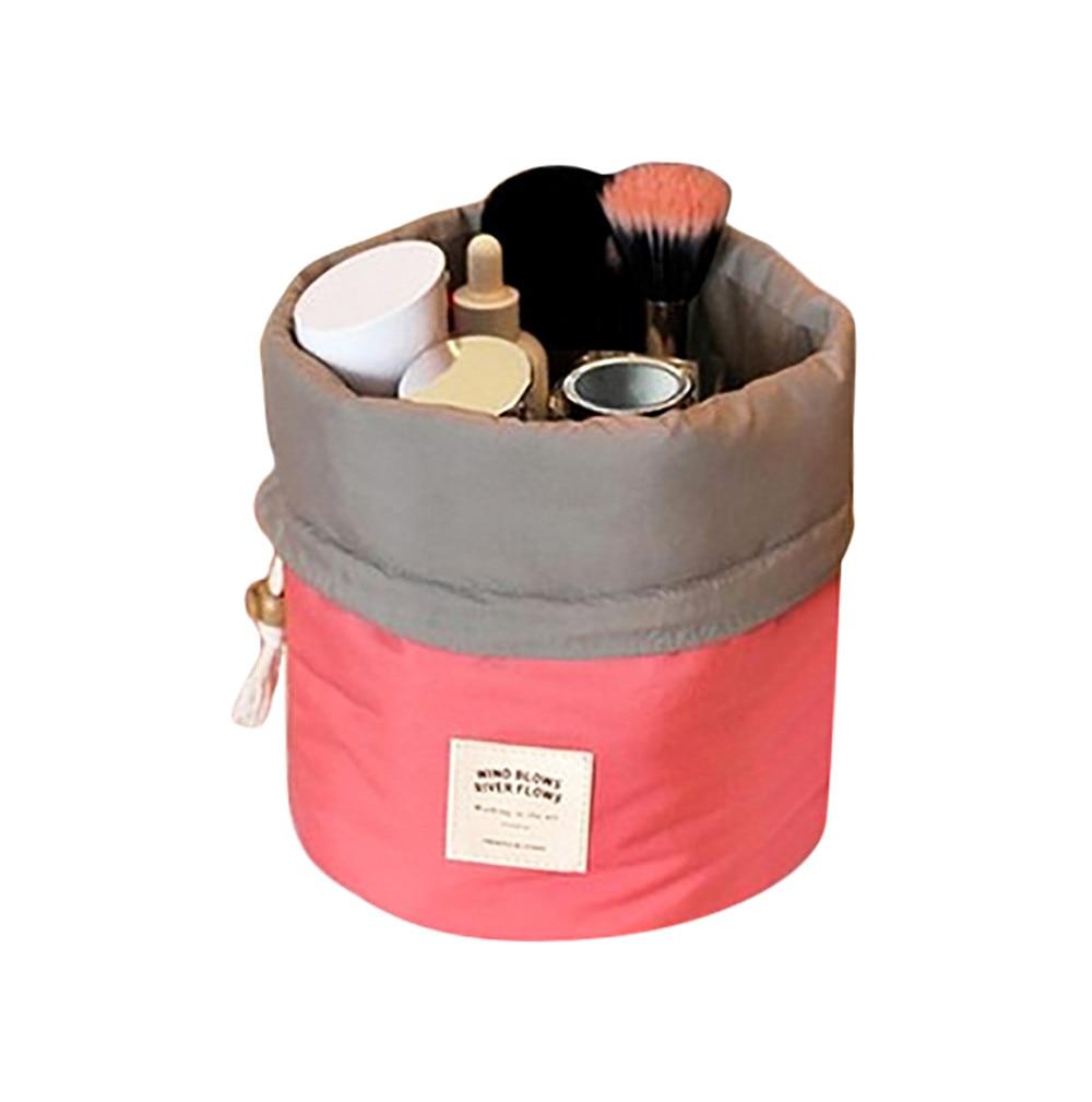 Fashion Barrel Shaped Cosmetic Bag Make Up Bag Drawstring Elegant Drum Wash Kit Makeup Beauty Bag rangement maquillage 1