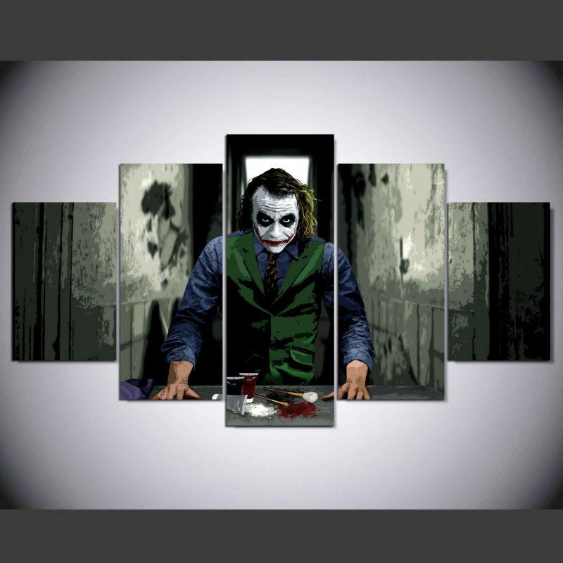 HD Printed Joker Movie Art 5 Piece Canvas Painting JOCKER