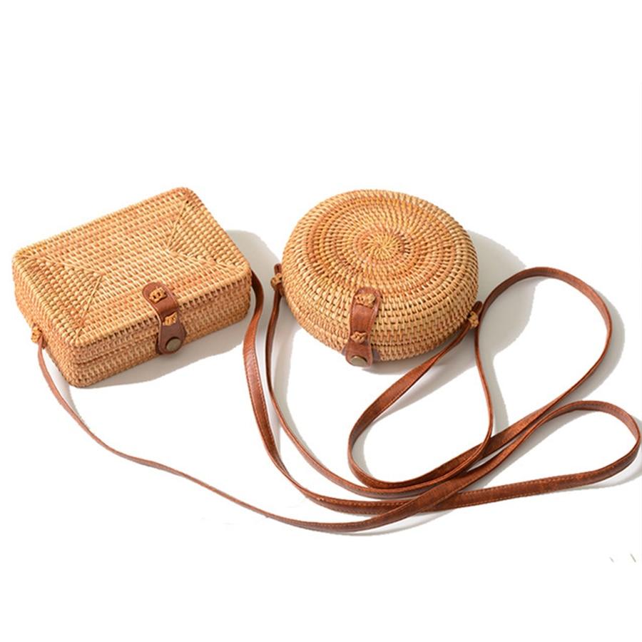 лучшая цена DUSUN Summer Women Handmade Round Bamboo Handbags Rattan Bags Circle Box Bali Bohemian Beach Totes handbags Knitting Straw Bag