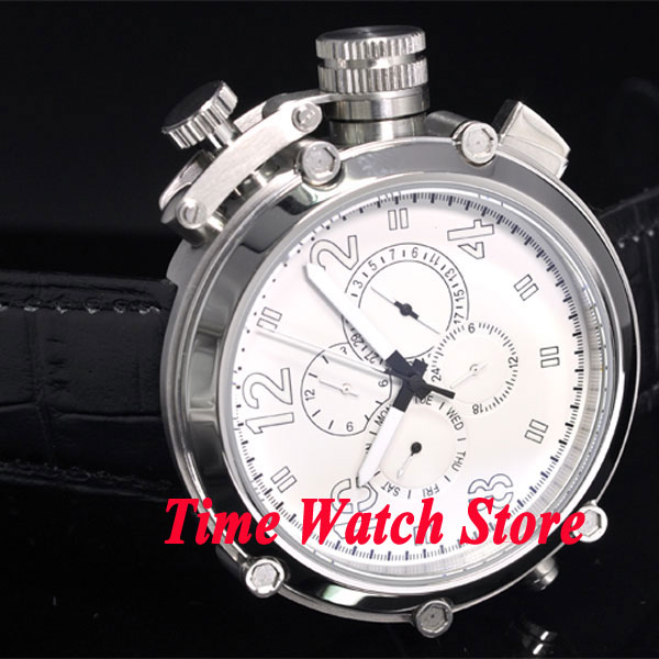 цена на Parnis 50mm white dial date week display multifunction black leather strap Automatic movement men's watch P3