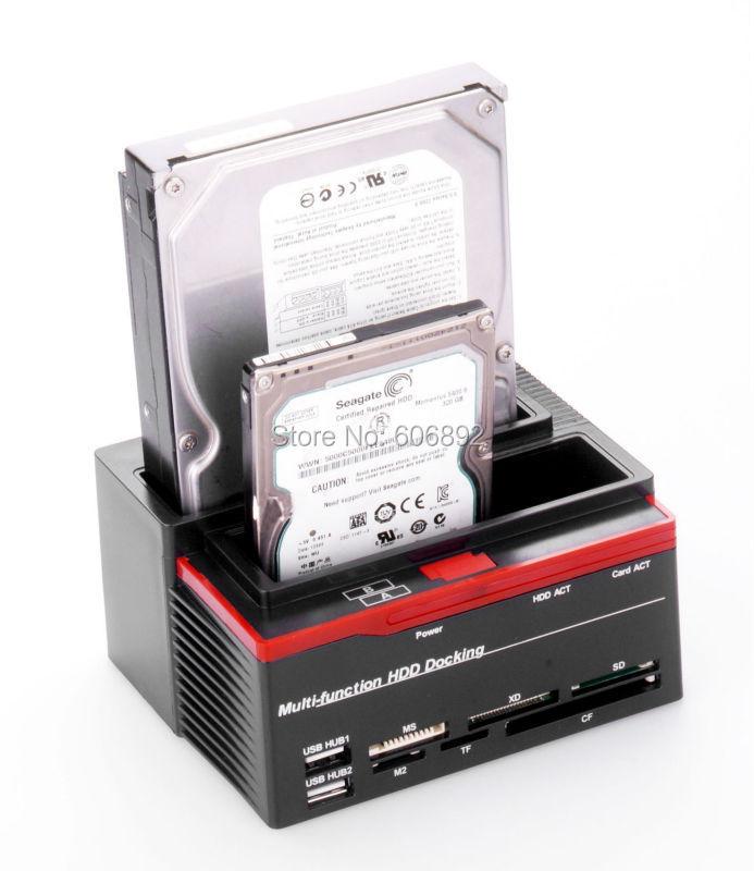 """Prix pour HDD Docking Station D'accueil Pour DISQUE DUR USB2.0 à 3.5 """"2.5"""" IDE SATA avec tous dans un lecteur de carte USB HUB"""