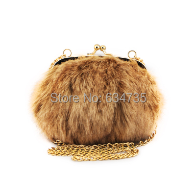 e739952644b7 Fiona 2015 Designer Small Bag Fluffy Feather Round Clutch Faux Fur Women  Handbags Shoulder Chains Bag-in Shoulder Bags from Luggage   Bags on  Aliexpress.com ...