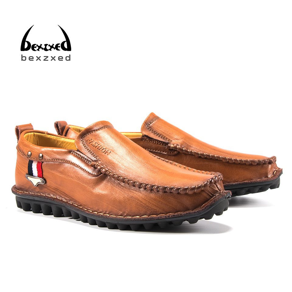 Bexzxed Men Shoes Casual Genuine Leather Shoes Mens Luxury Brand Summer Leisure Breathing Flats For Men New Zapatos Hombre