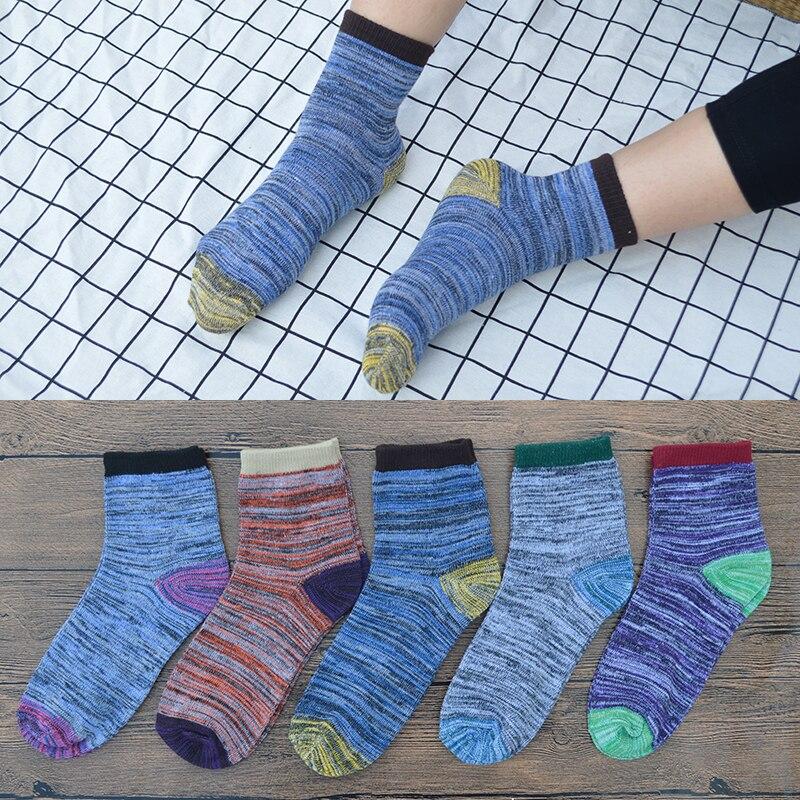 5 Pair/set Retro Patchwork Cotton Men Crew Casual Socks Retro Men's