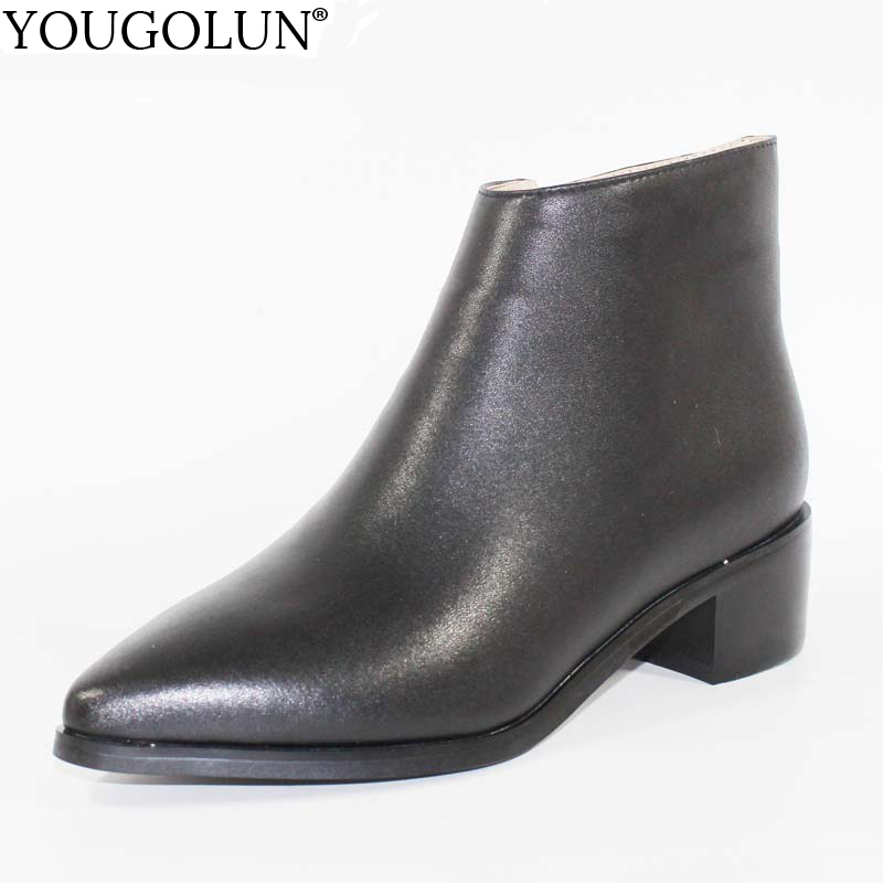 YOUGOLUN Women Ankle Boots Genuine Leather Ladies New Winter Mid Square Heel 4.5 cm Heels Woman Pointed Toe Black Shoes #D-007 yougolun women ankle boots 2018 autumn winter genuine leather thick heel 7 5 cm high heels black yellow round toe shoes y 233