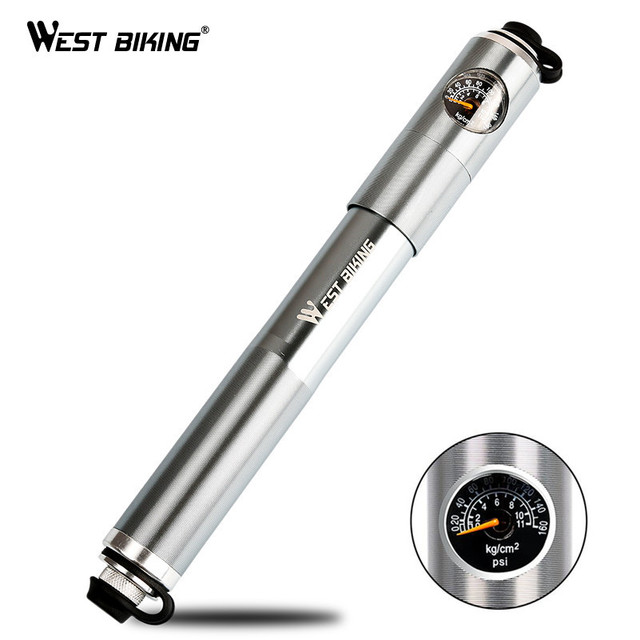 WEST BIKING Cycling Pump Hose Gauge Bicycle Adapter Alloy Portable Tire Inflator Air Needle Schrader Presta Valve Hand Bike Pump
