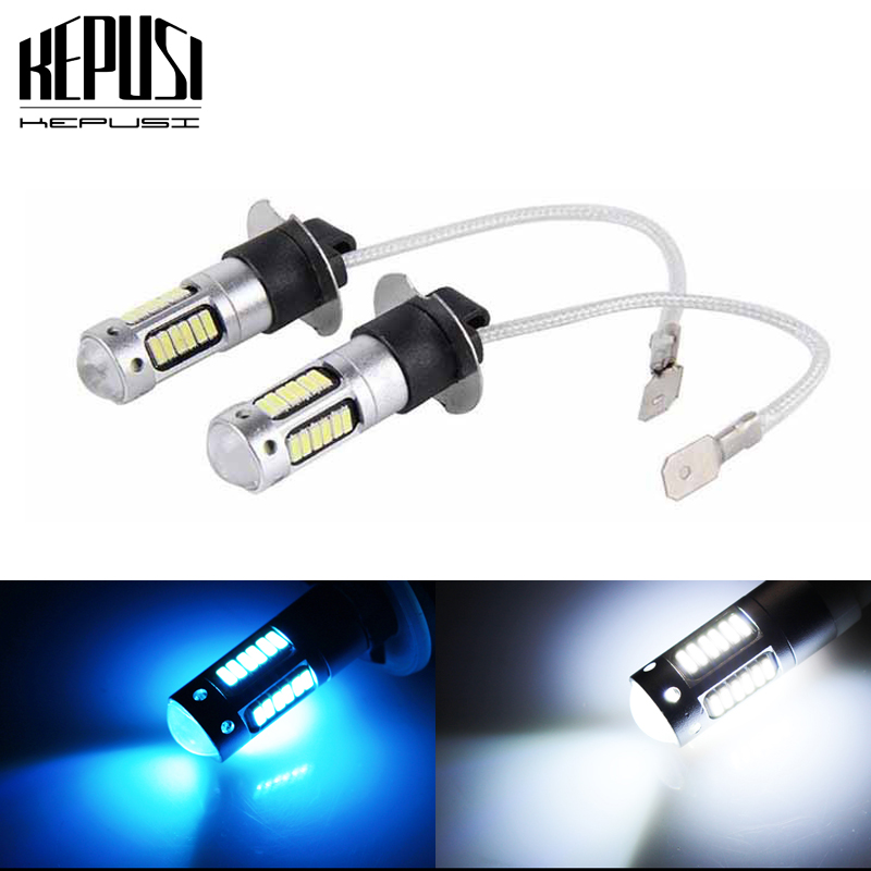 2x H3 Led Auto Fog Lamp High Power Led Car Bulbs 4014 Drl Daytime Running External Lights Day Driving Vehicle White Ice Blue 12v Evident Effect