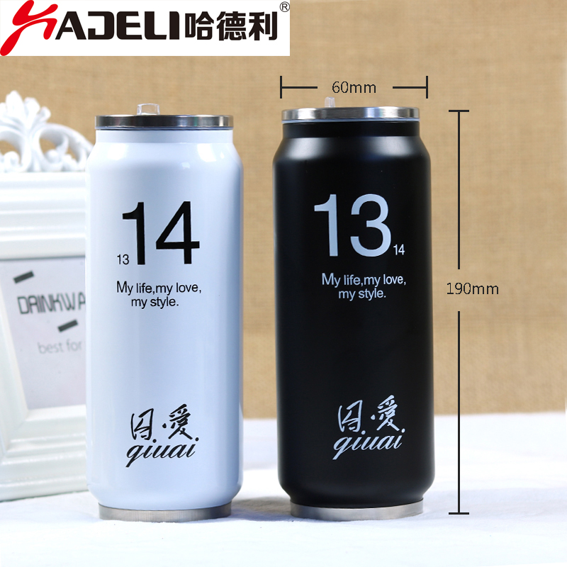 280/450ML thermos bottle Thermos Beverage Can Mug Cup Stainless Steel Insulated Water Bottles Garrafa Straw Termos Lover Gift