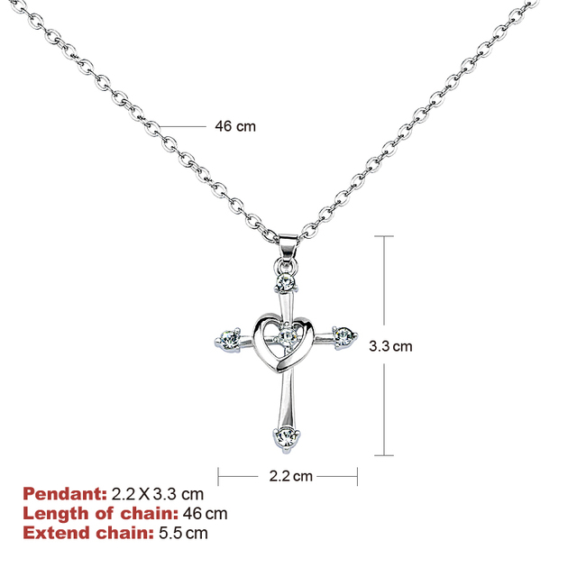 Cross Love Heart Pendant Necklace for Women