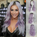Purple Lace Front Wig Ke$ha Pastel Purple Light Wavy Synthetic Lace Front Wig Heat Lavender Hair Wig Natural Long Wig For Women