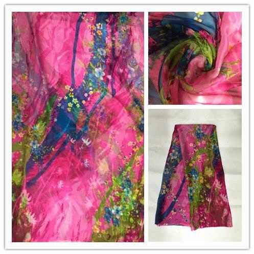 140cm New Summer Print 100%Silk Chiffon Fabric Fashion colorful leopard design print 100% silk chiffon fabric 6momme DSF18