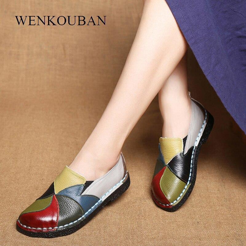Designer Femmes Chaussures En Cuir Véritable Appartements Dames Mocassins D'été Mocassins Femme Slip On Casual Conduite Chaussures Chaussure Femme