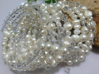 Natural Freshwater Pearl Crystal Bracelets Multilayer Free Shipping Trending Real Pearls Braacelets Bangle