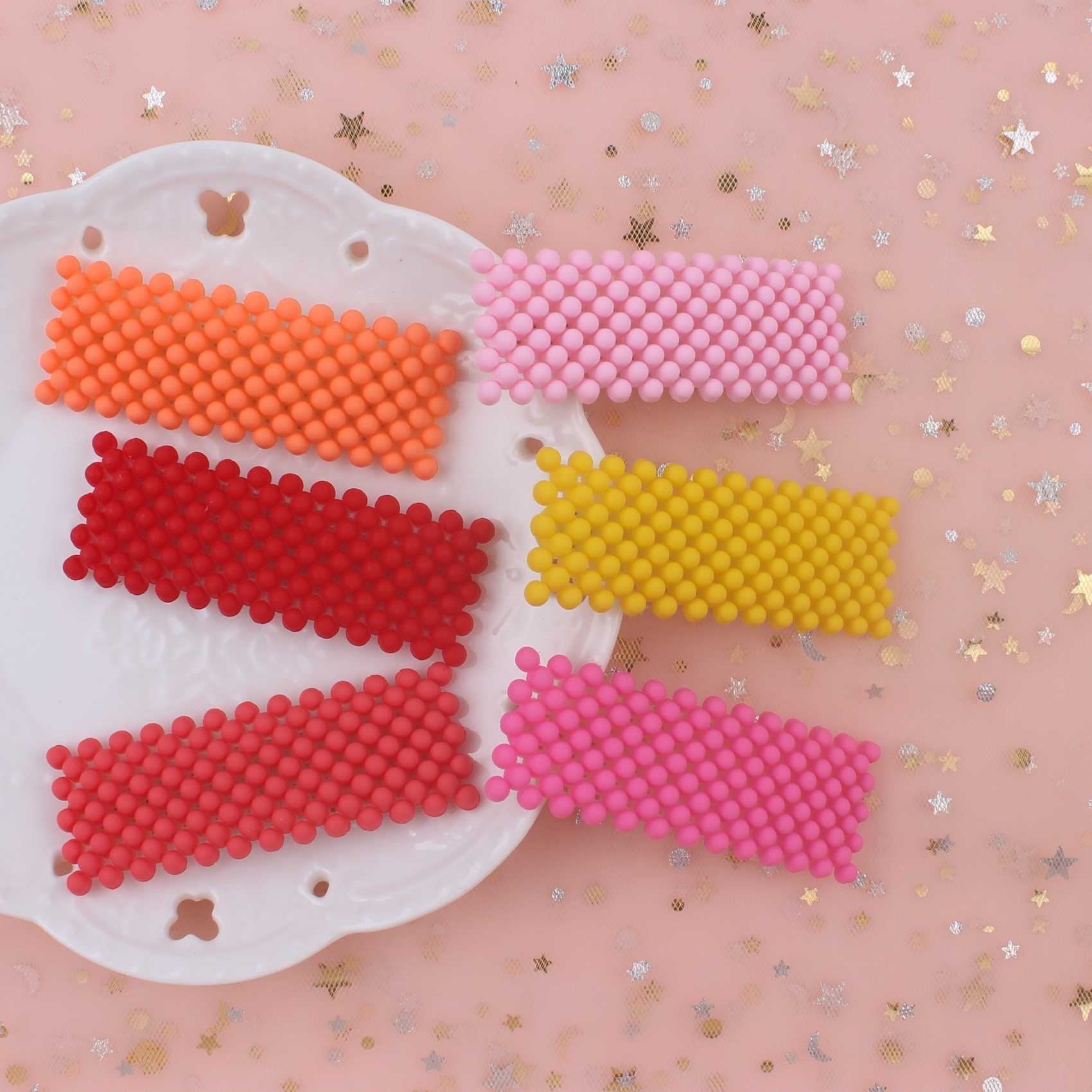 2019 NEW fashion geometric triangle small pink gray orange 6 colors pearl girls hair clips women barrettes b b long 75mm 1pcs