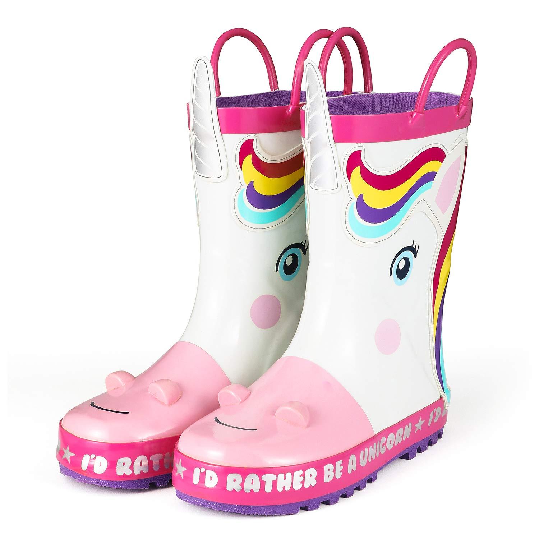 KushyShoo Children's Rain Boots Girl 3D Unicorn Rubber RainBoots Kids Rain Boots Waterproof Cartoons Toddler Water Shoes