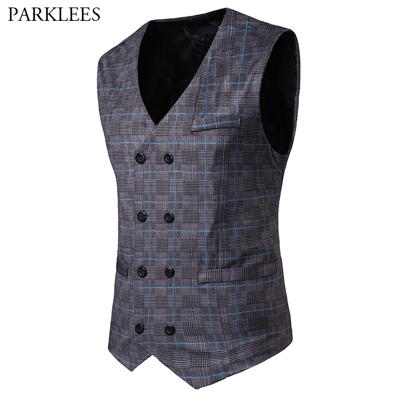 Men's Business Casual Plaid Checked Suit Vest 2019 Brand New Slim Fit Double Breasted Waist Coat For Men Chalecos Para Hombre