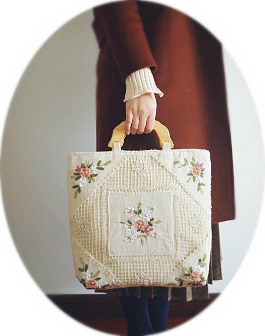 Handmade Vintage Flower Bag Handmade Crochet Handbag Floral Beige Handbag Vintage Flower Embroidery Shoulder Bags Women Tote
