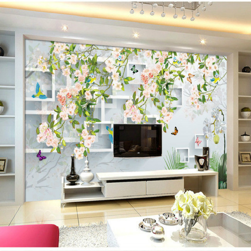 Flowers Butterflies stereoscopic 3D block large mural 3D wallpaper bedroom room backdrop painting three-dimensional 3D wallpaper large custom 3d wallpaper mural 3d wallpaper 3d stereoscopic rose pink flowers living room bedroom tv backdrop box