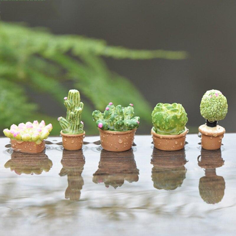 5pcs Home Decoration Accessories Artificial Cactus Plant Flower Pot Bonsai Terrarium Figurines Succulent Statue Resin Craft