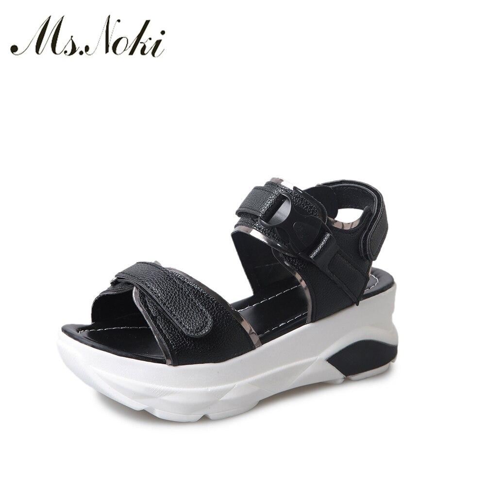 2018 Summer women sandals wedges sandals ladies open toe round toe z black  white platform sandals shoes Ms. Noki shoes Hot 5383e9a2697e