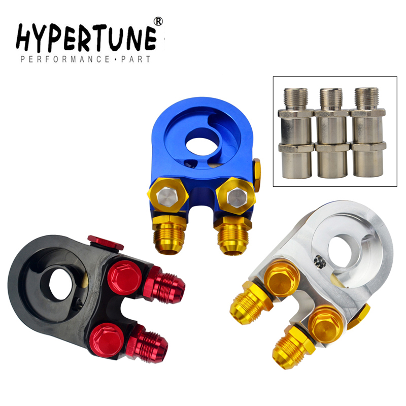 Hypertune - Aluminum AN10 OIL Filter SANDWICH ADAPTER Oil Cooler TURBO WITH Thermostat And FITTING 3/4-16 UNF,M20*1.5 HT6746