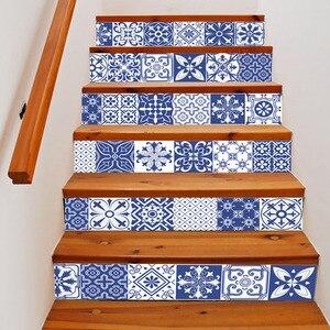 Image 5 - Calcomanías de vinilo de porcelana blanca y azul de China, azulejo de cerámica para decoración de escaleras de habitación, decoración de suelo para el hogar, pegatina de pared