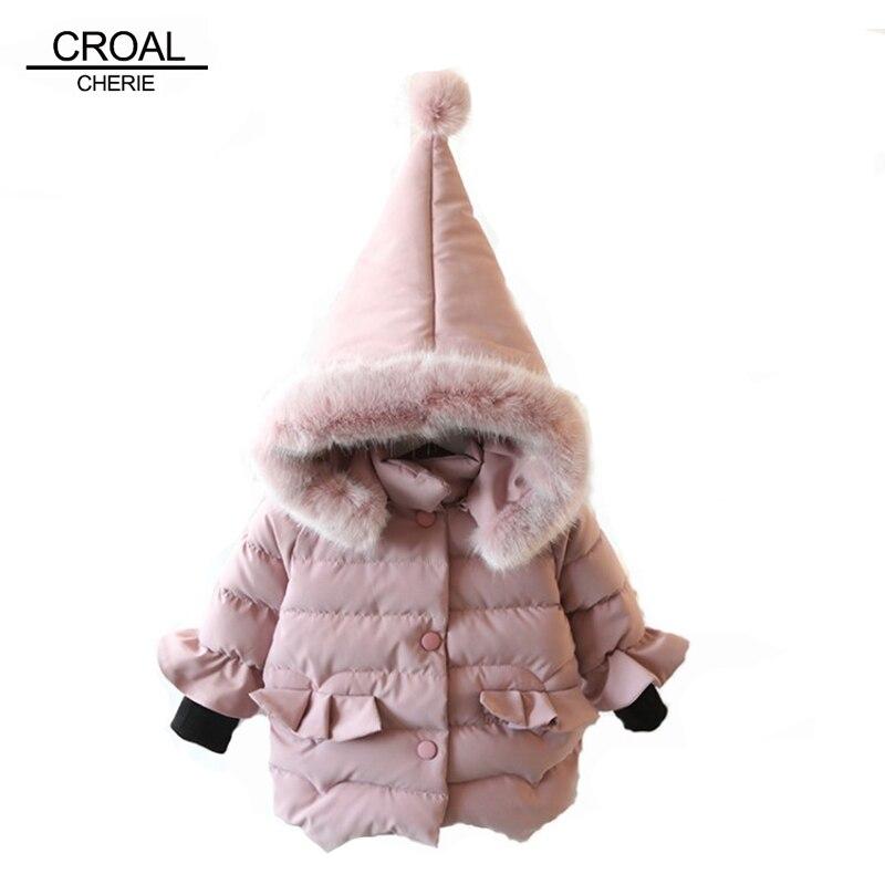 CROAL CHERIE 70-120cm Children's Jacket For Girls Winter Parkas Clothes Cotton Infant Overcoat Snowsuit