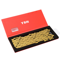 YBN Ultralight 10 11 Speeds Bicycle Chain SLR Gold Hollow MTB Road Bike Chain for Shimano/SRAM/Campanolo System