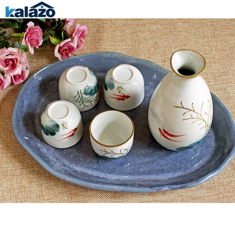 High temperature underglaze color hand-painted ceramic sake bottle wine glass Goldfish water gift set gift box One pot four cu image