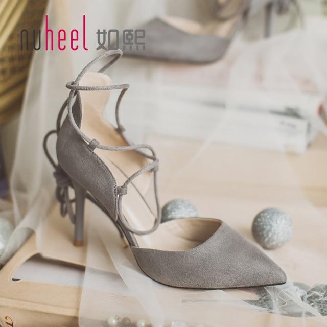 Новый nuheel женщины на высоких каблуках сандалии леди насосы моды лодыжки ремень обувь Острым Носом Зашнуровать сексуальная обувь розовый серый бесплатная доставка