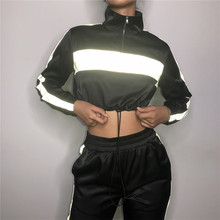 two piece set crop top and pants 2019 streetwear reflective tracksuit jogging femme 2 piece sets striped pants womens outfits instahot grey tracksuit reflective flash side zip buckle women two piece set autumn crop top cargo pants casual streetwear sets