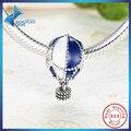 Venda quente 925 Prata Esterlina Para Cima E Longe de Balão de Ar Quente Encantos Fit Pulseira DIY Jóias Esmalte Azul & Branco