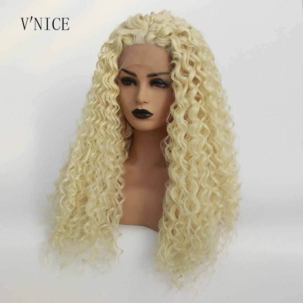 V NICE Natural Long Curly Platinum Blonde Wig High Temperature Heat Resistant Fiber Synthetic Lace Front