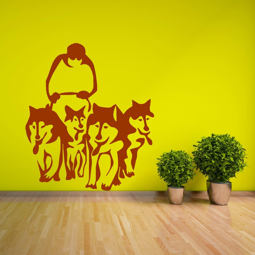 A Group Of Husky Dog Huskies Wall Decals Sled Sledge Vinyl Wall Mural Home Living Room House Decoration Wall Sticker