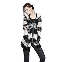 New Arrival Loose Fit Punk Sexy Gothic Long Sleeved Knit Sweater Women Skull Print Female Cardigan