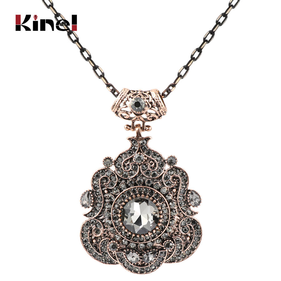Kinel Bohemia Ethnic Necklace For Women Antique Gold Gray Crystal Statement Pendant Necklace Vintage Jewelry 2018 New Style(China)