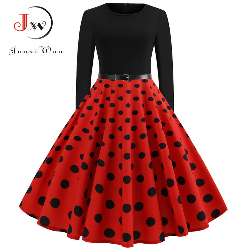 Red Dot Elegant Party Dresses Women Long Sleeve Winter Dress Big Swing Rockabilly Vintage Dress Plus Size Casual Christmas Robe