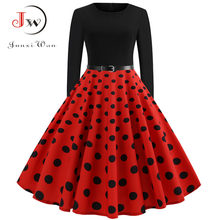 8afd5f2c544 Point rouge robes de soirée élégantes femmes à manches longues Robe d hiver  grande balançoire Rockabilly Vintage Robe grande tai.