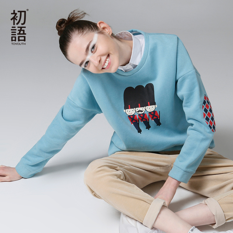 Toyouth Autumn Women Sweatshirts Casual Printed Long Sleeve Sweatshirt Loose Round Neck Blue Hoodies Sudadera Mujer